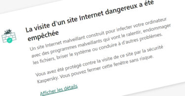 Message d'erreur Kaspersky site bloqué